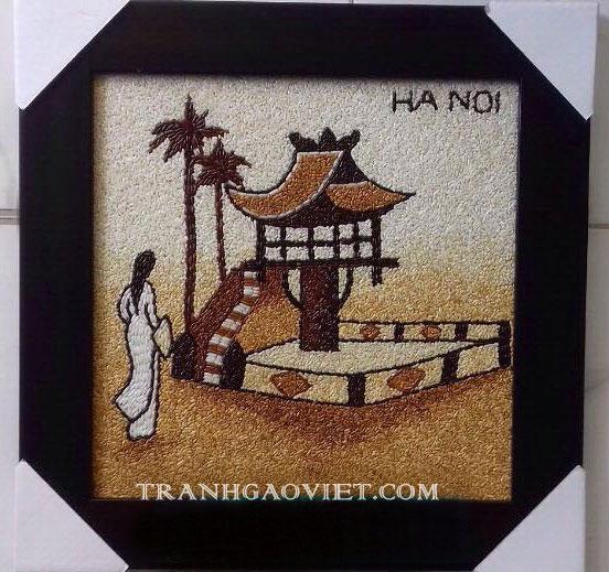 Quà lưu niệm Việt Nam- tranh gạo chùa một cột