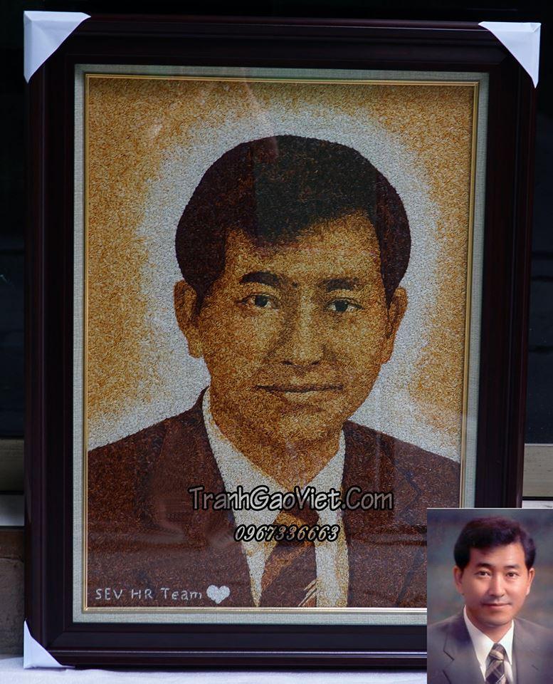 Tranh gạo chân dung phó tổng giám đốc tập đoàn Samsung Lee Cheol Ku
