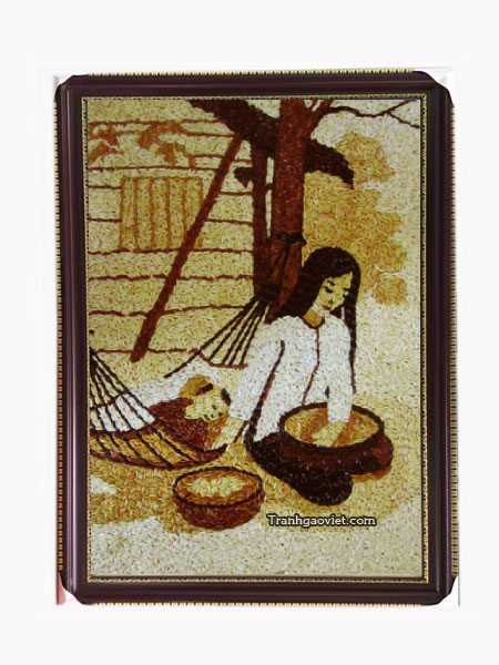 tranh gạo mẹ ru con