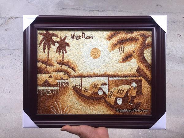Tranh gạo làng quê việt