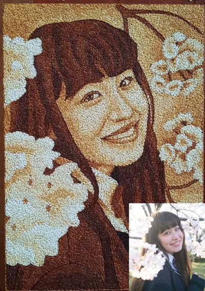 Chân dung cô gái nhật - tranh gạo