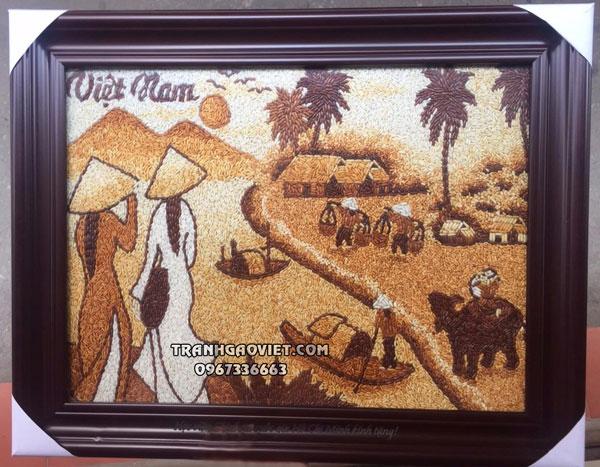 Tranh gạo thiếu nữ và chợ quê