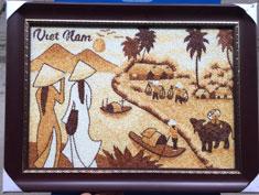 Tranh gạo thiếu nữ áo dài