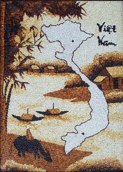 Tranh gạo bản đồ việt nam