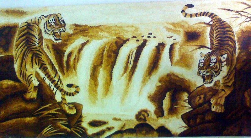 Tranh gạo hai con hổ
