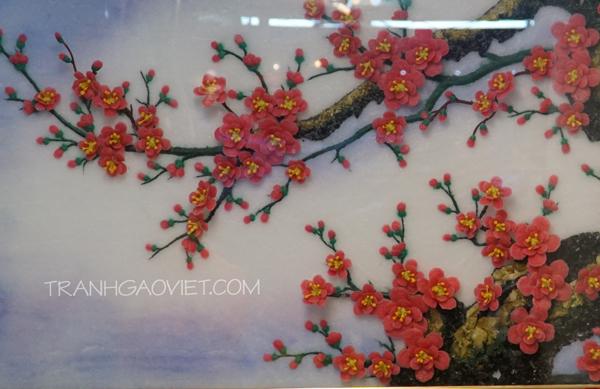 Tranh đá quý hoa đào - mẫu chụp cận cảnh