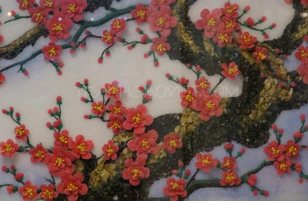 Tranh đá quý hoa đào - phần gốc cây đào