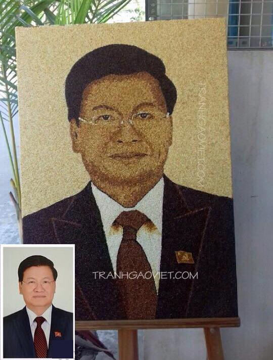 Tranh gạo chân dung tổng thống Lào Thongloun Sisoulith