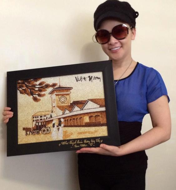 Bức tranh gạo làm quà tặng ngày tết