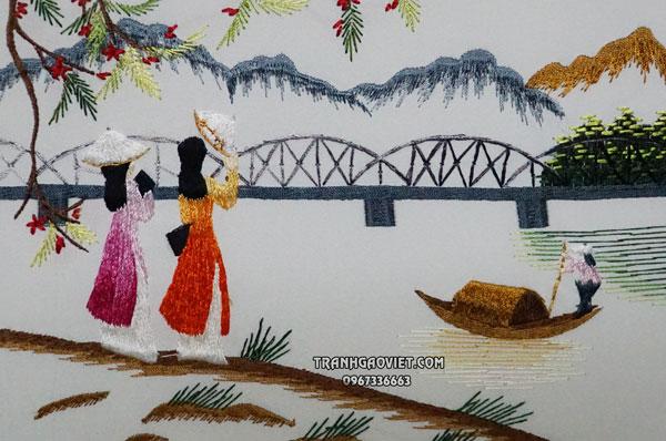 Tranh thêu tay cầu tràng tiền, tranh thêu tay phong cảnh làng quê việt nam