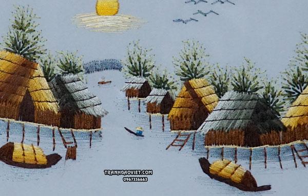 Tranh thêu tay chợ nổi miền tây, tranh thêu tay phong cảnh làng quê việt nam