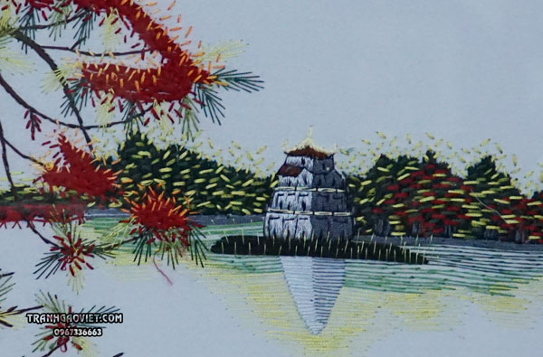 Tranh thêu tay hồ hoàn kiếm - tháp rùa hà nội
