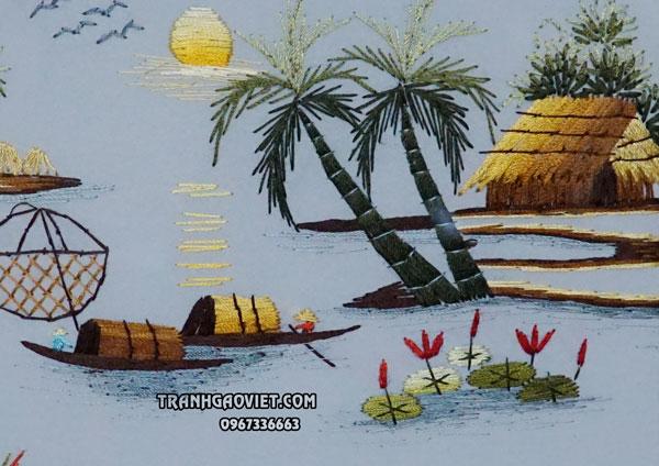 Tranh thêu tay truyền thống phong cảnh làng quê việt nam xưa