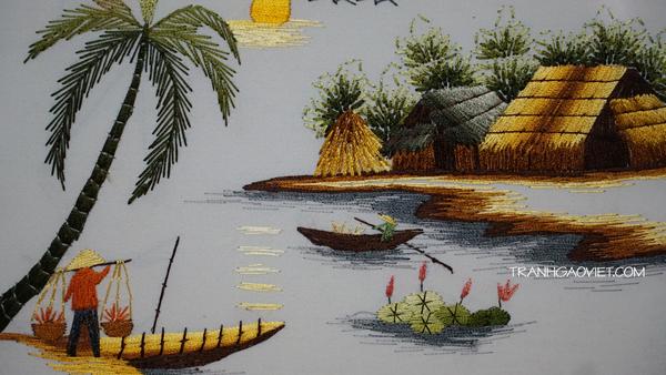Tranh thêu tay chiều quê - tranh phong cảnh làng quê việt
