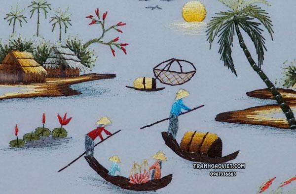 Tranh thêu tay chèo đò, tranh phong cảnh làng quê việt