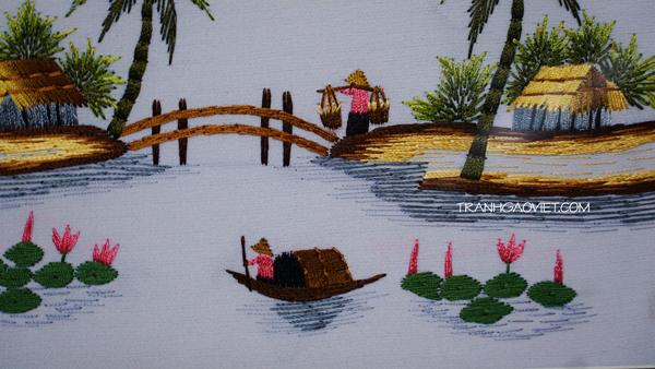 Tranh thêu tay làng quê việt nam - mẫu chụp cận cảnh