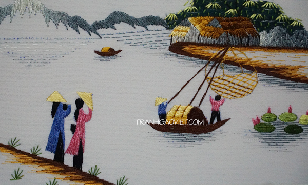 Tranh thêu tay truyền thống - áo dài và sông quê
