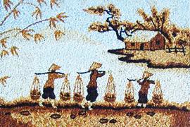 Trang trí phòng khách bằng tranh gạo độc đáo