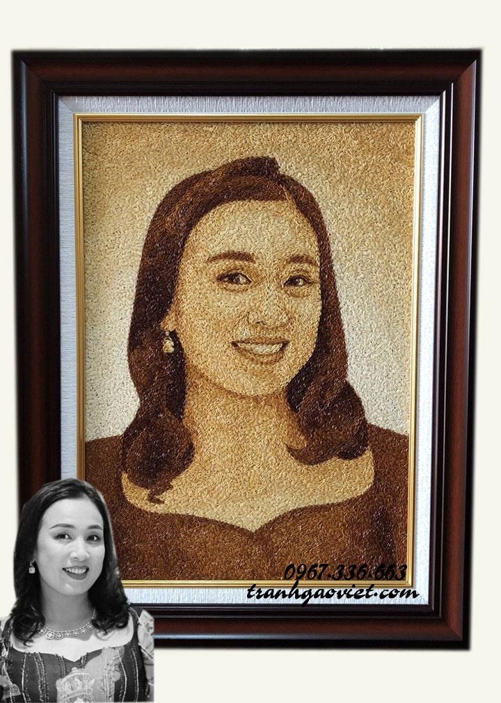 Tranh gạo chân dung cô gái TGCD163