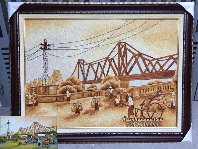 Tranh gạo Cầu Long Biên xưa