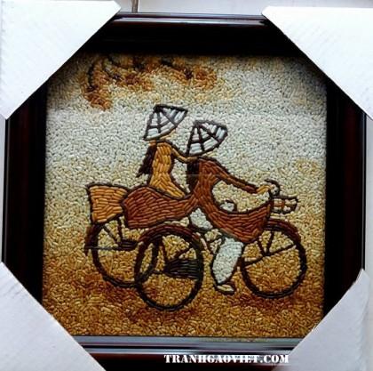 Tranh gạo thiếu nữ đạp xe 6- size nhỏ