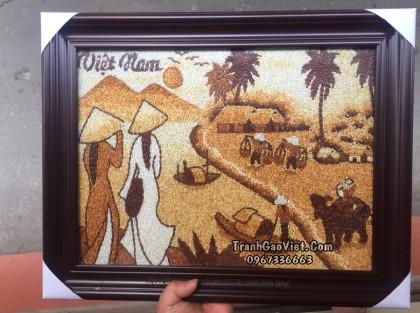 Tranh gạo thiếu nữ & chợ quê