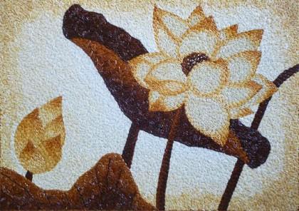 Tranh gạo hoa sen