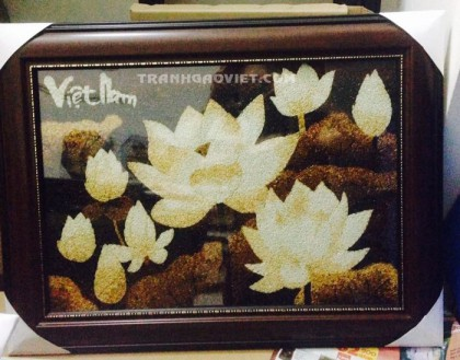 Tranh gạo hoa sen 2